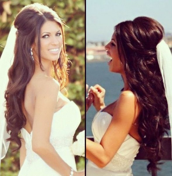 Gorgeous wedding hair #hairstyle #bride #bridal half up do…