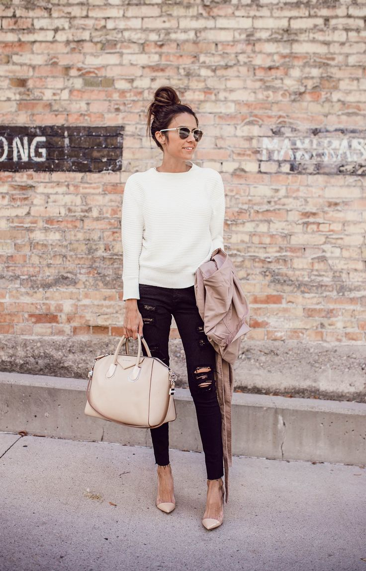 The Essentials | Hello Fashion. White sweater+black ripped skinny jeans+ivory pumps+ivory handbag+beige trenchcoat+sunglasses. Fall Outfit 2016