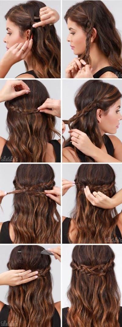 Solo necesitas haces dos trenzas en cada costado de tu cabeza, unirlas con pasadores y ondular el resto de tu cabello. Realmente es MUY fácil de hacer. #peinadosalcostado