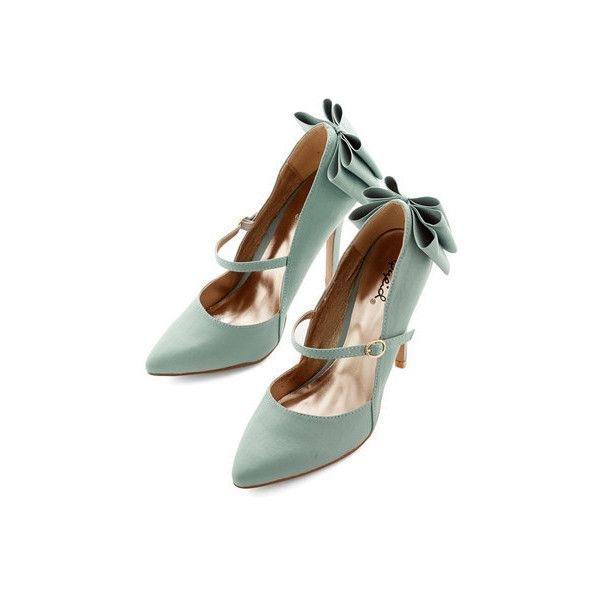 Darling Zeal of Approval Heel by ModCloth (1 035 UAH) ❤ liked on Polyvore featuring shoes, pumps, heels, sapatos, mint, pump heel, pointed-toe pumps, pointed toe stilettos, bow pumps and mint green pumps