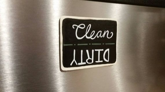 Clean/ Dirty Dishwasher Magnet https://www.etsy.com/listing/273296246/rustic-handpainted-chalkboard-clean