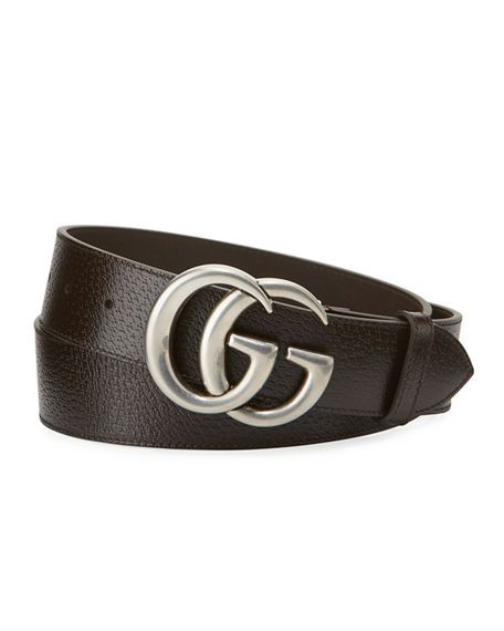 94064839469 GUCCI MEN S LEATHER BELT WITH SILVERTONE DOUBLE-G BUCKLE.  gucci ...