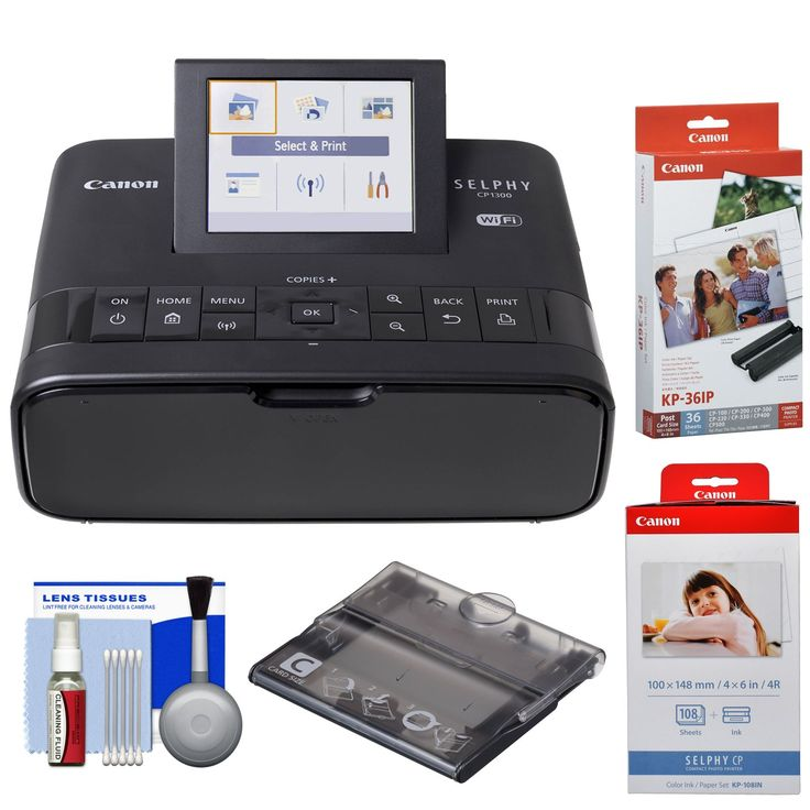 Canon SELPHY CP1300 Wi-Fi Wireless Compact Photo Printer (Black) with KP-36IP & KP-108IN Color Ink Paper Set + PCC-CP400 Card Size Cassette + Kit