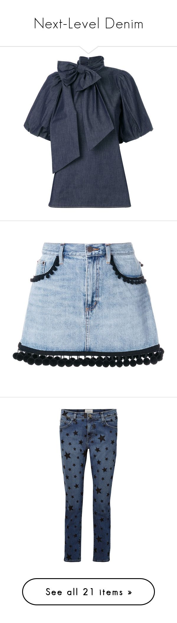 """""""Next-Level Denim"""" by polyvore-editorial ❤ liked on Polyvore featuring nextleveldenim, tops, blouses, blue, blue short sleeve top, short sleeve tops, stitch top, short sleeve blouse, oversized tops and skirts"""