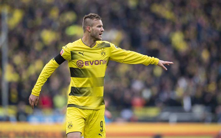 Download wallpapers Andrey Yarmolenko, BVB, blur, footballers, Borussia Dortmund, soccer, match, Bundesliga, Andriy Yarmolenko