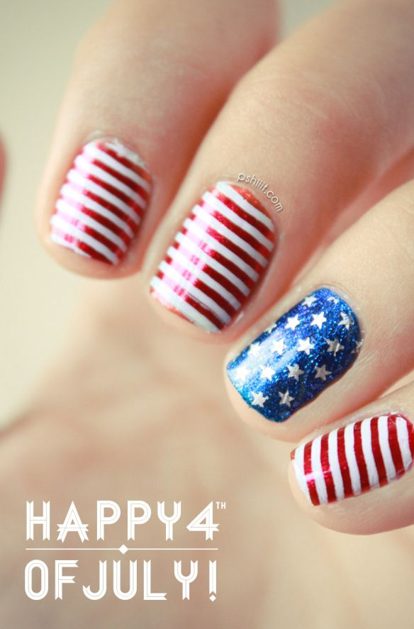 4th July patriotic manicure with stripes and stamped stars | Pshiiit.com