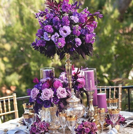 Purple reception wedding flowers decor