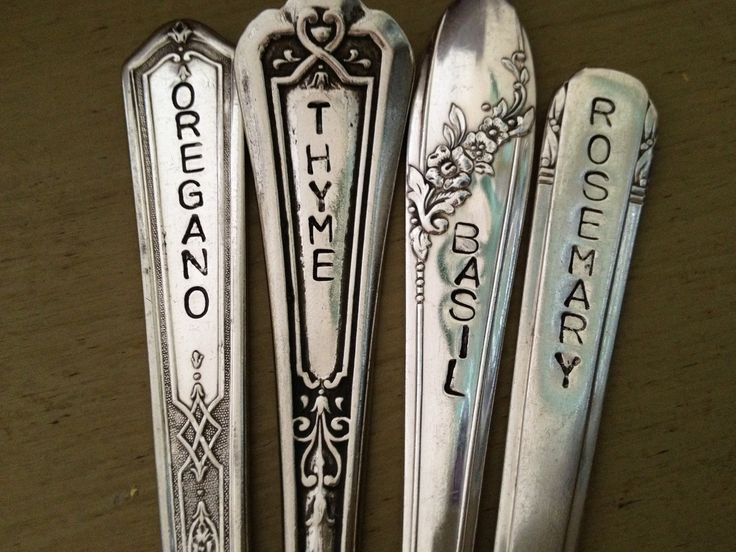 Recycled hand stamped silverware garden markers! (just got my stamping set from Harbor Freight)