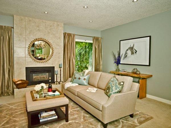 Modern Country Interiors- Silva Aiden Sofa, Silva Henry Ottoman, Mirror, Home Decor, Live Edge, Rustic, Living Room, Cream, Teal