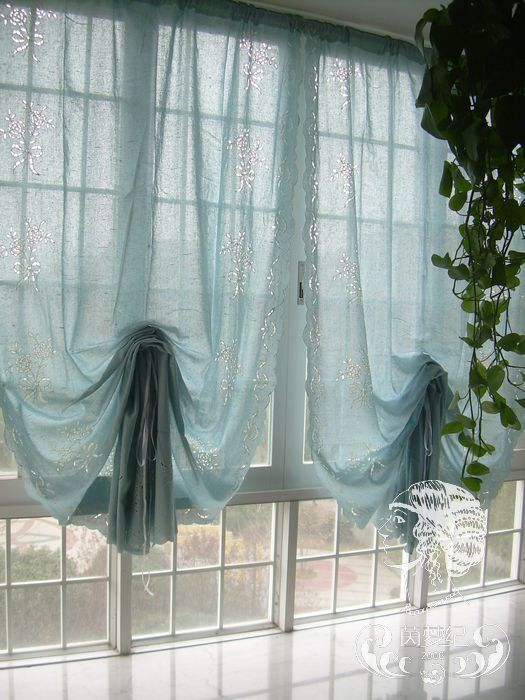 French Country Floral Blue Pull Up Balloon Shade Austrian