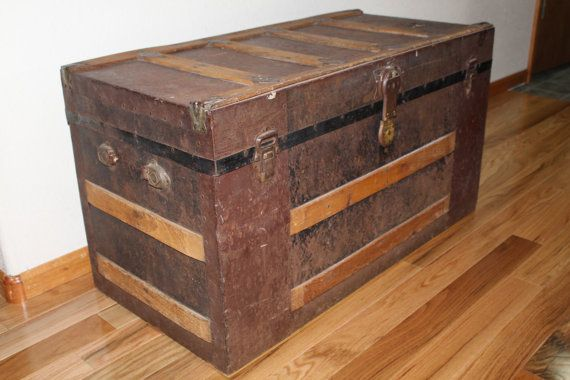 Antique 1800 S Metal Steamer Trunk By Crimsonhollow On