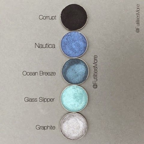 Makeup geek eyeshadows in corrupt, nautica, ocean breeze, glass slipper, and graphite. Picture by @futilitiesmore