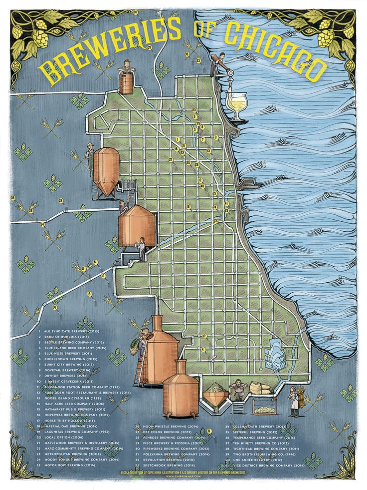 Map Of Oregon Breweries%0A Illustrated Map of the Breweries of Chicago  Imgur