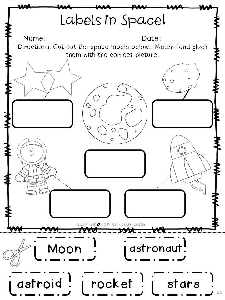 Labels in Space!  Night sky: Moon and stars $