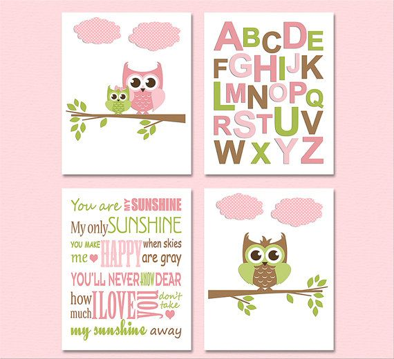 Pink/green/brown nursery Art Print Set - four 5x7 prints - $32