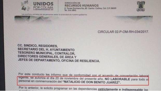Ayuntamiento de Colima da puente de 20 de noviembre... por 'natalicio de Benito Juárez' - El Mañana de Nuevo Laredo