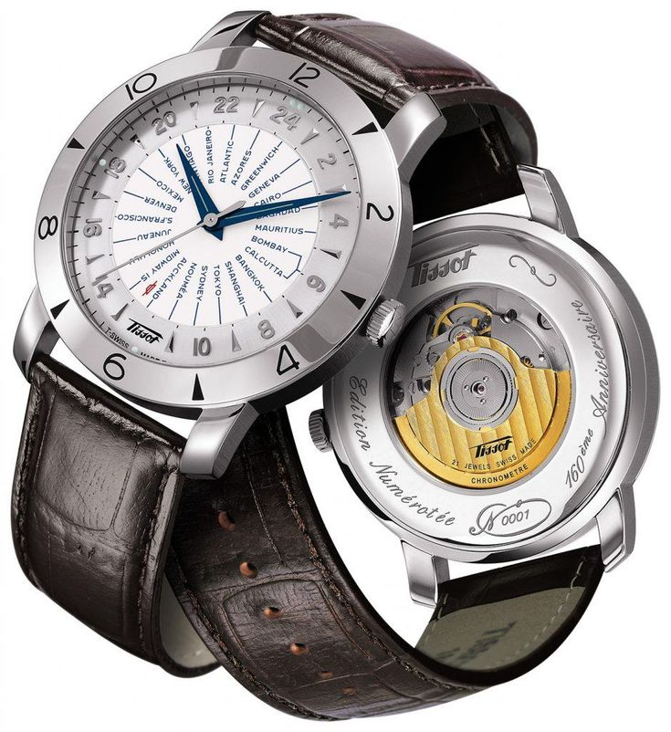 Tissot Heritage Navigator 160th Anniversary.  More @ http://www.watchtime.com/wristwatch-industry-news/watches/budget-travelers-5-world-time-watches-under-5000/  #tissot #watchtime