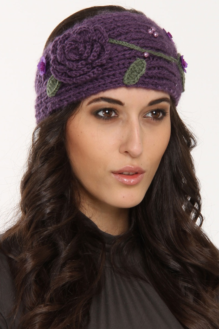 Embroidered Floral Knit Headband In Purple.