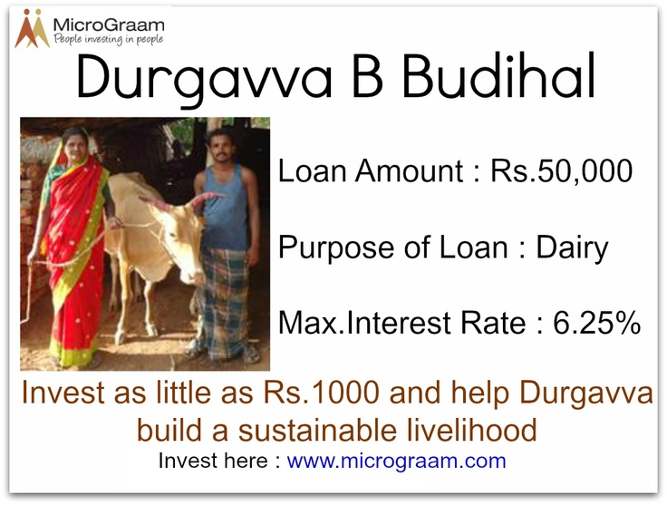 Durgavva needs a Rs. 50,000 ($1,000) to buy 2 cows to start a goat rearing business. On average, a family can make Rs. 3,000 or 60 USD per cow, per month.  Invest in the economic self reliance of Durgavva today at www.micrograam.com