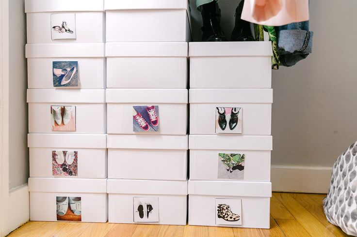 """Could You Sleep In A Closet? Because This Girl Does (With Her Boyfriend!) #refinery29  http://www.refinery29.com/tiny-apartment-living#slide-15  Get Your Stuff Together """"I minimize clutter by assigning everything in my house a place,"""" says Bigley, whose meticulously sorted shoe collection is major inspiration."""
