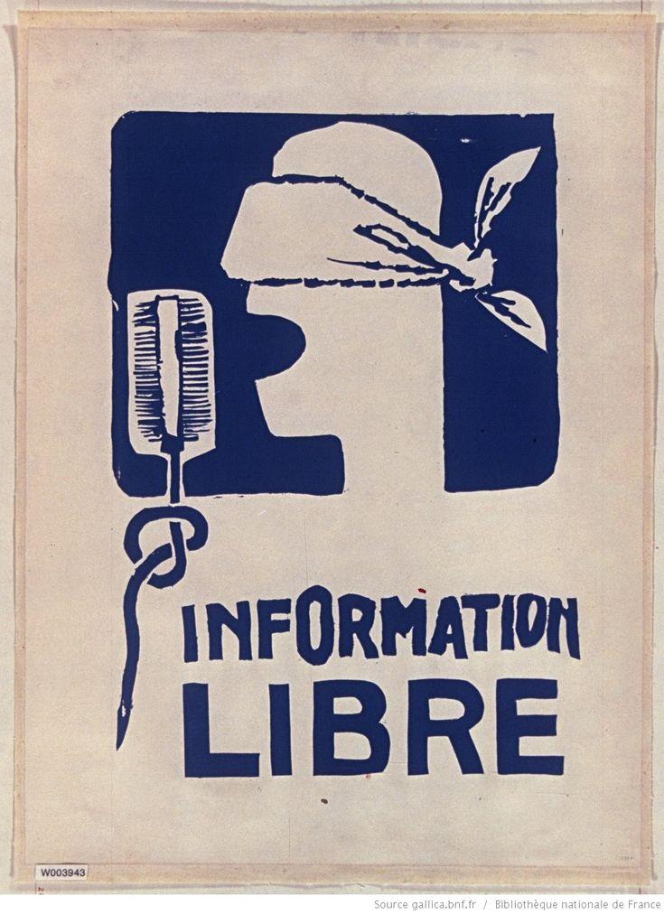 [Mai 1968]. Information libre (tête au bandeau sur les yeux), [Atelier Beaux arts] : [affiche] / [non identifié]