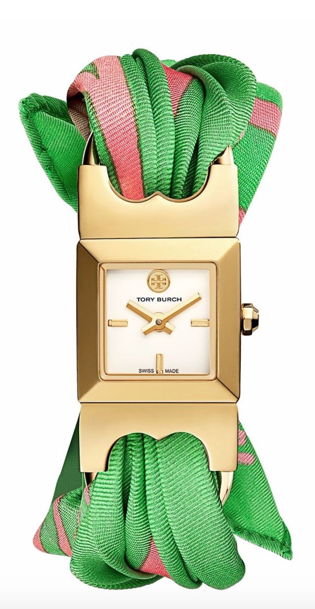 Tory Burch Double-T Link Watch, Green Silk/Leather/Gold-Tone, 18 X 18 MM