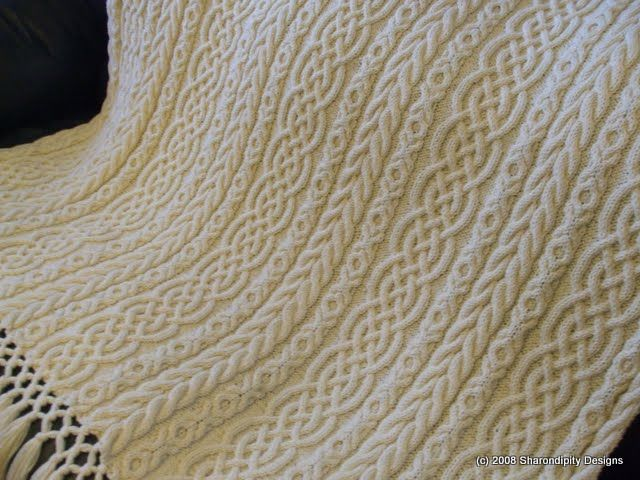 Free Irish Aran Knitting Patterns | Sharondipity: Celtic Aran Afghan Pattern... one day