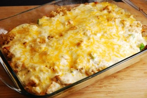 Cheesy Chicken and Rice Casserole – 7 Points + - LaaLoosh - American comfort food at its finest, this healthy and delicious Cheesy Chicken and Rice Bake is always a family favorite. It's a wonderful Weight Watchers casserole recipe that is easy to prepare and very satisfying at 7 Points + per serving.