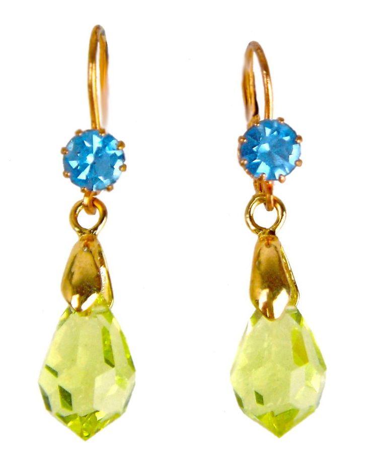 Vintage Antique Art Deco Lever Back Dangle Earrings Czech Glass BLUE GOLD #NA #Dangle