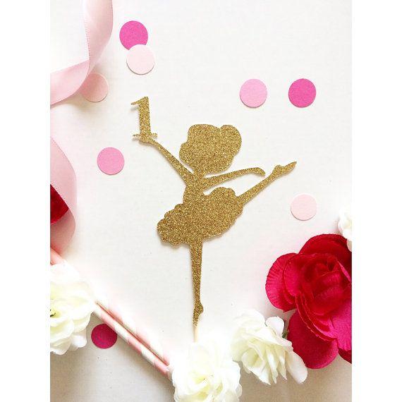 Ballerina Cake Topper, Glittery, personnaliser n
