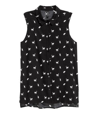 h&m, sleeveless blouse (black). size 2.