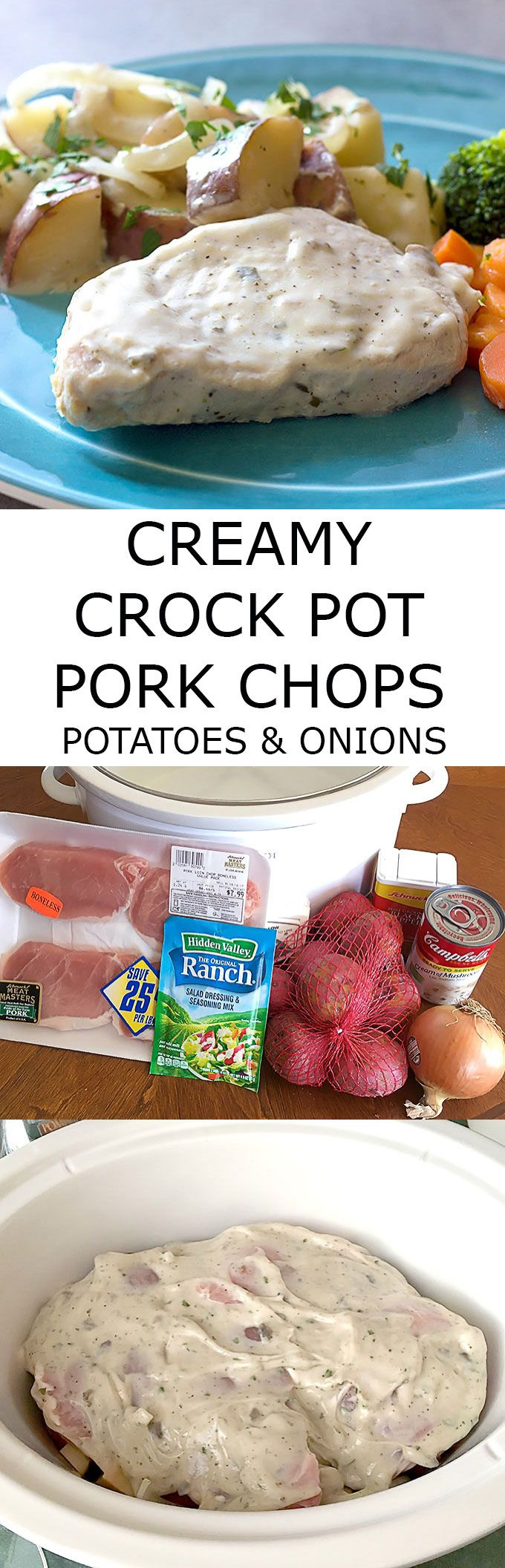 Creamy Crock Pot Pork Chops Potatoes & Onions is a comforting delicious dinner that only takes a few ingredients and a few minutes to prepare. via @afinks