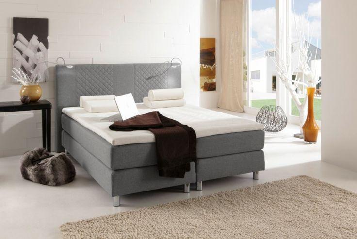 pasadena boxspringbett doppelbett 140 x 200 cm grau schlafzimmer pinterest bett. Black Bedroom Furniture Sets. Home Design Ideas