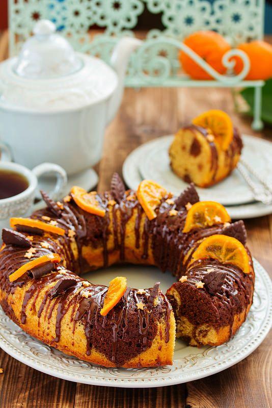 Мраморное шоколадно-апельсиновое кольцо.