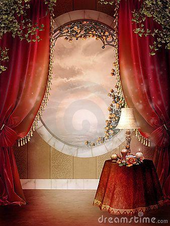 Victoriaanse slaapkamer met rode gordijnen