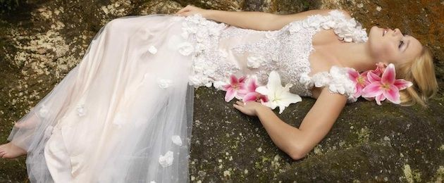 Heavily beaded, Italian lace gown overlaid on blush pink silk sateen with tulle strapes - beautiful!!