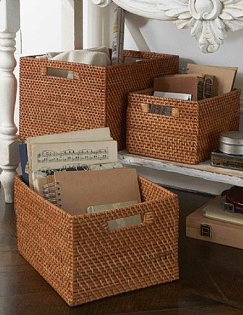 Photo Image Rattan Basket with Cut out Handles