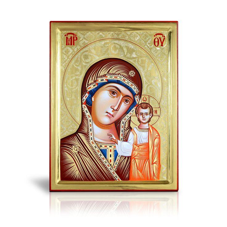Η Παναγία του Καζάν είναι χρυσωμένη στο φόντο με καθαρό φύλλο χρυσού 22Κ και σκαλισμένη με τσουκάνι τόσο στο φόντο όσο και στο φωτοστέφανο. Έχει φιλοτεχνηθεί εξ' ολοκλήρου στο χέρι από τον καθηγητή κ. Σιδηρόπουλο. - The story of the Holy icon, depicting the face of Virgin Mary turning tenderly to her Son, who is standing up straight and is blessing is known as «Our Lady of Kazan». It is entirely handcrafted by Prof. Sidiropoulos.