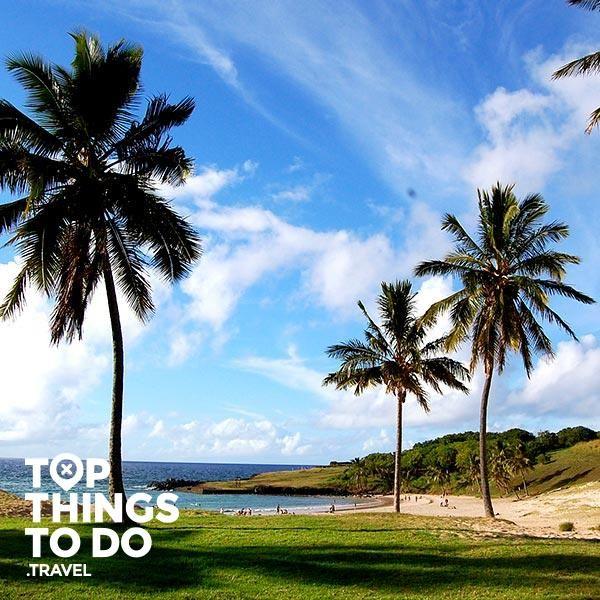 Anakena - Isla de Pascua - La playa más espectacular de Isla de Pascua es Anakena, con sus arena blanca y su agua cristalina. No pudes dejar de pasar una tarde de relajo acá.