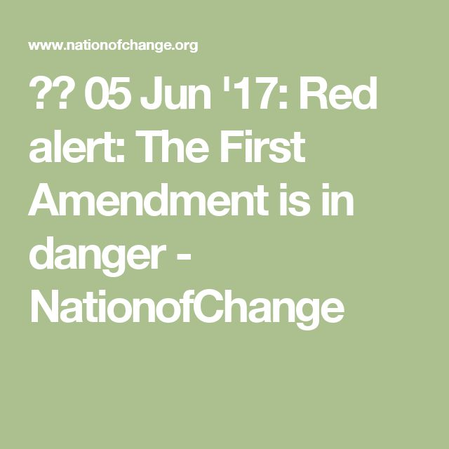 05 Jun '17:  Red alert: The First Amendment is in danger - NationofChange
