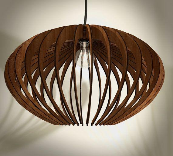 Holz-Pendelleuchte Lasercut Kronleuchter Lampe Handmade Sperrholz hängende Decke ökologische minimal moderne Tassendesign industrielle