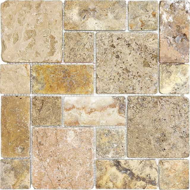 Tumbled scabos travertine roman pattern mosaics 76 347 scabos travertine pinterest more for Tumbled glass tile