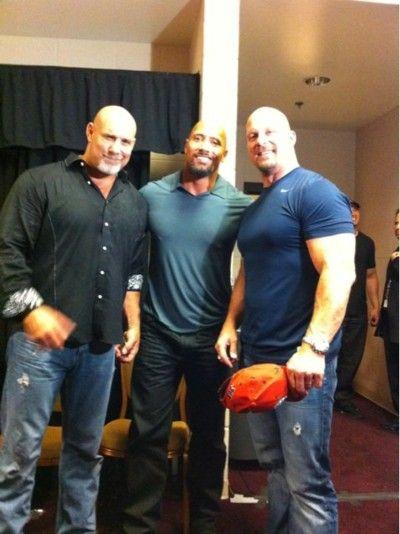 Bill Goldberg...The Rock...& Stone Cold Steve Austin. I can't handle this...LOL!