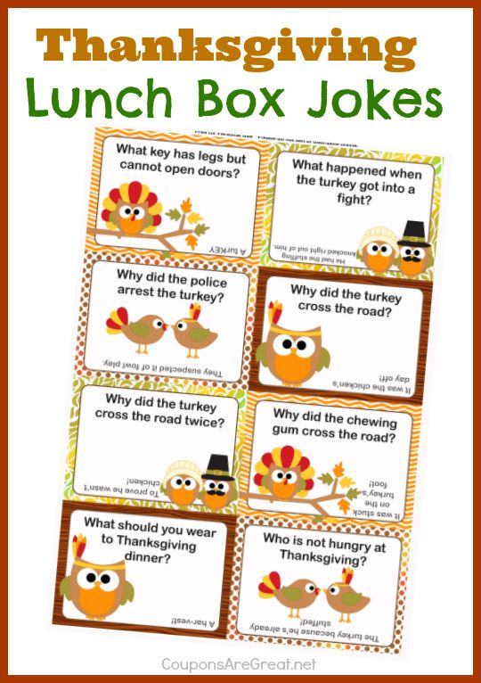 Thanksgiving Lunch Box Notes Using Thanksgiving Jokes For Kids......so