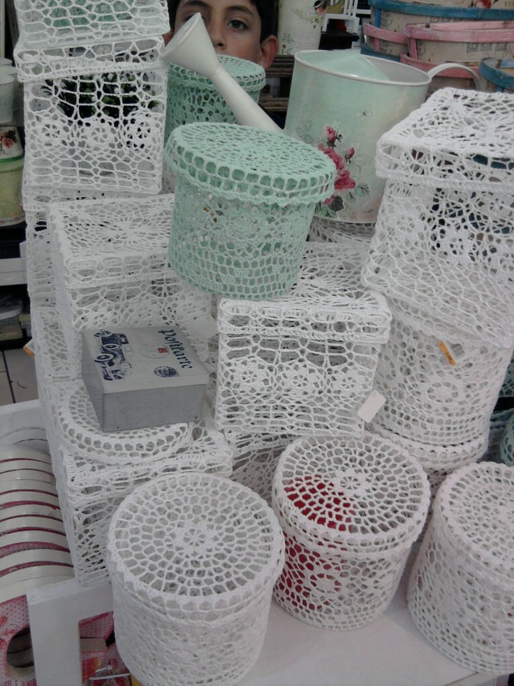 Cajas de ganchillo   -   Crochet boxes http://www.pinterest.com/gigibrazil/boards/