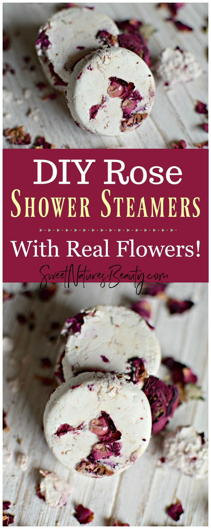 These DIY Rose Shower Steamers use essential oils for aromatherapy. Click through to learn how to make DIY Rose Shower Steamers.