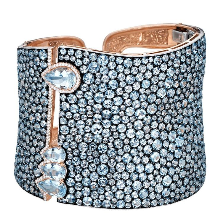 Stunning Blue Topaz Aquamarine Silver Gold Cuff Bracelet by Hamilton, United States