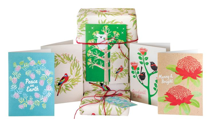 Australian made Christmas cards, wrapping paper and gift tags by Earth Greetings.