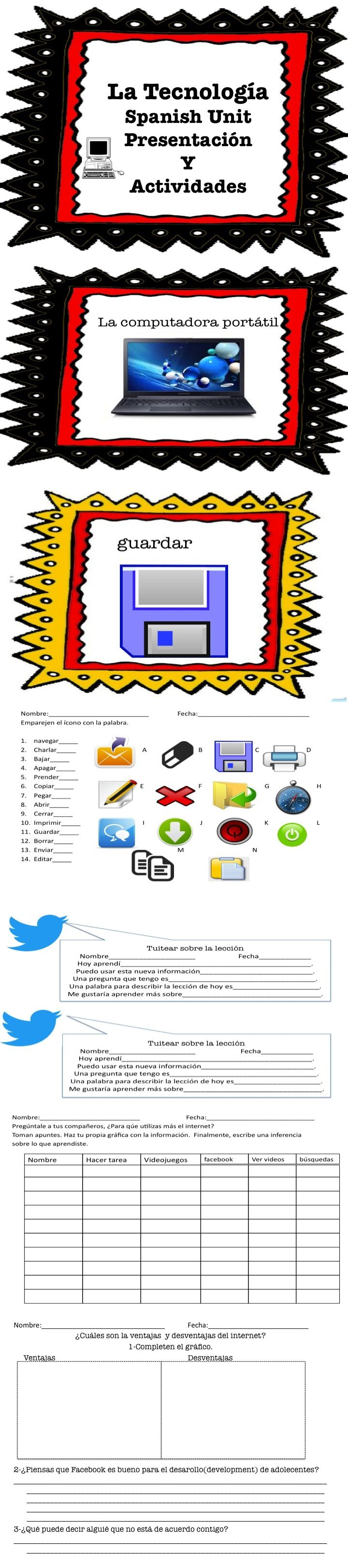 Spanish-Technology Unit-Includes presentations and common core aligned activities. 46 pages.