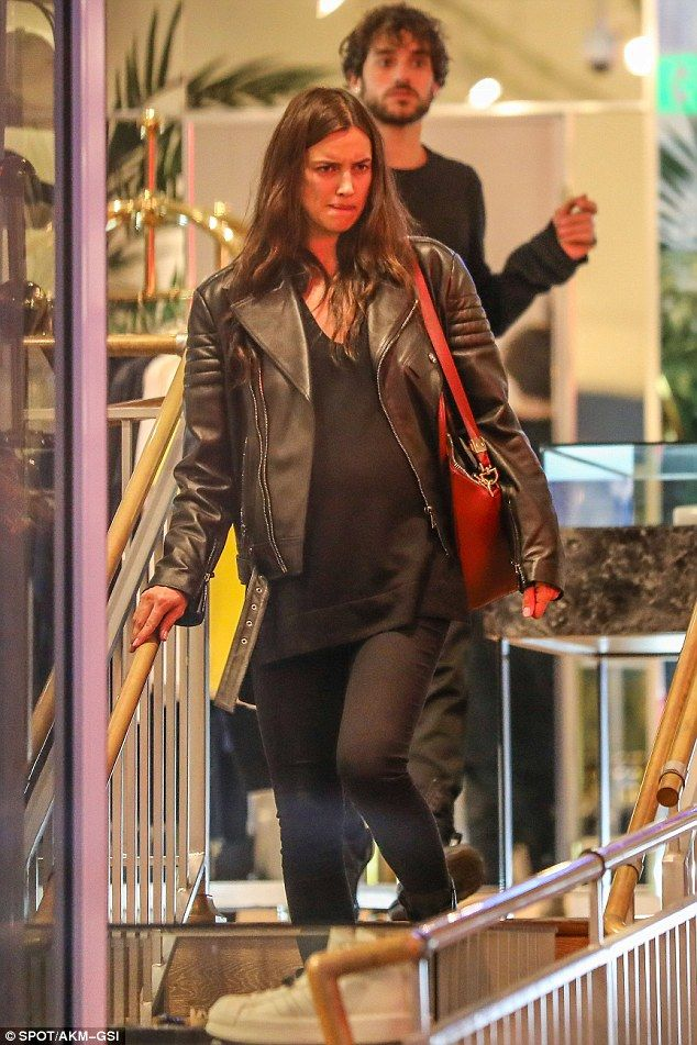 Shop til I drop: 'Pregnant' Irina Shayk shopped on Melrose Avenue on Tuesday while dressed in a casual black top and leather jacket